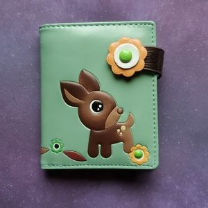 NWT Cute Deer & Owl Wallet - Green Vegan Leather
